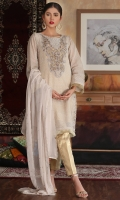Hand embellished embroidered shirt with gold zari inner shirt and gold zari trouser and embroidered dupatta
