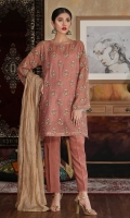 Hand embellished embroidered shirt with plain trouser and gold zari dupatta