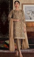 Hand embellished embroidered shirt paired with plain gold zari trouser and zari dupatta