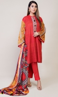 3 Pc suit - Printed Lawn Shirt and silk Dupatta with Tassel and Plain Trouser