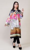 Printed Cotton Silk Shirt with Pearls at Neck