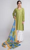 Jacquard Leaf Shirt with China silk dupatta