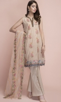 printed and embroided shirt with polynet embroided duppata with dyed trouser