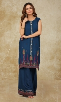 Dyed & Embroidered Cotton Silk Shirt Front(1.25m) Dyed & Embroidered Cotton Silk Back & Sleeves(1.50m) Dyed & Embroidered Cotton Silk Shalwar(2.50m)