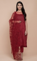 Dyed & Embroidered Wider Width Lawn Shirt(2.5m) Dyed & Embroidered Poly Net Dupatta(2.50m) Dyed Cambric Shalwar(2.50m)