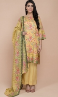 Printed Wider Width Lawn Shirt(2.75m) Printed & Embroidered Cotton Lawn Dupatta(2.50m) Dyed Cambric Shalwar(2.50m)
