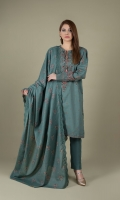 Printed & Embellished Wider Width Khaddar Shirt(2.50m) Printed & Embroidered Khaddar Dupatta(2.50m) Dyed Khaddar Shalwar(2.50m)