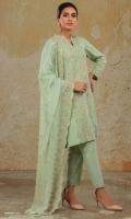 Dyed & Embroidered Lawn Karandi Shirt Front