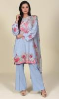 Printed & Embroidered Lawn Karandi Shirt Front(1.25m) Printed Lawn karandi Shirt Back(1.50m) Printed & Embroidered Chiffon Dupatta(2.50m) Dyed Lawn Karandi Shalwar(2.50m)
