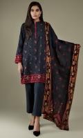 Printed & Embroidered Wider Width Khaddar Shirt Front(1.25m) Printed Wider Width Khaddar Shirt Back(1.50m) Printed Khaddar Dupatta(2.50m) Dyed Khaddar Shalwar(2.50m)