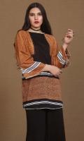 printed khaddar slub tunic in boat neck with stripes detailing