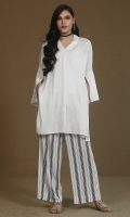 White shirt with v neck  Side pockets and slit at sleeves details