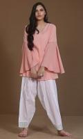 Pink karandi top with flared sleeves