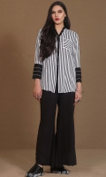 Stripes button front top in black and white with sleeve detailing