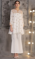 floral embroidered flare top with golden lace detailing