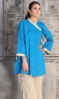 Thread and tilla embroidered shirt with antique gold lace detailing