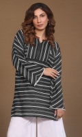 nautical stripes tunic with leather mandrin collar and pockets detailing