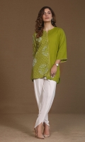 khaddar top with monchromatic geomatrical embroidery