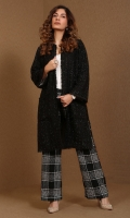 Tweed long jacket with open front, pockets and raw edges detailing
