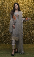 Embroidered Chiffon Front  Plain Chiffon Back  Embroidered Chiffon Sleeves  Embroidered Chiffon Ghera  Embroidered Chiffon Dupatta  Embroidered Chiffon Trouser with Patches