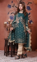 Embroidered Chiffon Front with Hand Embellishment Plain Chiffon Back Embroidered Chiffon Sleeves Embroidered Chiffon Ghera Plain Raw Silk Trouser Embroidered Chiffon Dupatta