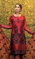 Embroidered Chiffon Front Embroidered Chiffon Back Embroidered Chiffon Sleeves Embroidered Chiffon Ghera Embroidered Chiffon Dupatta Embroidered Chiffon Trouser with Patches