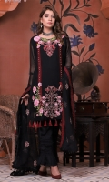 Embroidered Chiffon Front with Hand Embellishment Plain Chiffon Back Plain Chiffon Sleeves Embroidered Chiffon Ghera Embroidered Chiffon Dupatta Plain Raw Silk Trouser