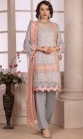 Embroidered Chiffon Front with Hand Embellishment Embroidered Chiffon Back Embroidered Chiffon Sleeves Embroidered Chiffon Ghera Embroidered Chiffon Dupatta Plain Russian Grip Trouser