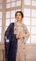 Embroidered Chiffon Front with Hand Embellishment Plain Chiffon Back Embroidered Chiffon Sleeves Embroidered Chiffon Ghera Embroidered Chiffon Dupatta Plain Russian Grip Trouser