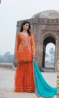 Embroidered Tissue Front Embroidered Tissue Back Gotta Hand embroidered Neck with embellishment Embroidered Tissue Sleeves Gotta Hand embroidered Chiffon Dupatta Gotta embroidered Tissue Trouser