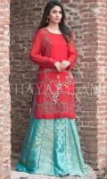 Embroidered Chiffon Front Embroidered Chiffon Back Chiffon Sleeves Hand Embellished Chiffon Ghera Jacquard Double panel Lehenga