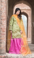Embroidered Raw Silk Front Embroidered Raw Silk Back Gotta Hand embroidered Neck Embroidered Raw Silk Sleeves Gotta Hand embroidered Ghera Gotta Hand embroidered Tissue Dupatta Gotta embroidered Lehenga
