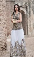 Jacquard Front Jacquard Back Pearl Hand embellished Neck Sequins embroidered Chiffon Lehenga