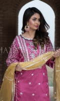 Sequins embroidered Raw Silk Front Sequins embroidered Raw Silk Back Gotta Hand embroidered Neck with embellishment Sequins embroidered Raw Silk Sleeves Gotta Hand embroidered Ghera with embellishment Gotta Hand embroidered Tissue Dupatta Raw Silk Trouser