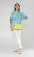 Short Top with Embroidery on Sleeves