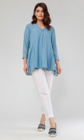 Embroidered Flared Denim Top