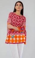 Printed Top with Embroidery on Sleeves