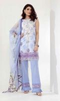 Shirt Lawn Printed Embroideredآ 3.25m Printed Chiffon Dupattaآ 2.5m Shalwar 2.5m