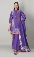 A lovely purple 3 piece unstitched khaddar outfit with stylized prints.