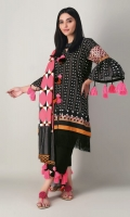 A bold black 3 piece unstitched light khaddar outfit with geometric prints.
