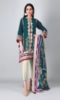 A fresh green 3 piece unstitched light khaddar outfit with floral prints.