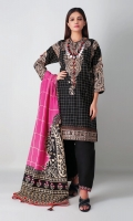 A bold black 3 piece unstitched light khaddar outfit with floral prints.