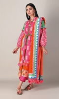 A pretty pink 3 piece unstitched light khaddar outfit with stylized prints.