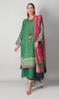 A lovely green 3 piece unstitched jacquard karandi outfit with floral prints.