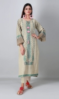 A calming beige 2 piece unstitched crosshatch outfit with floral prints.