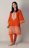 A bright orange 2 piece unstitched khaddar outfit with stylized prints.