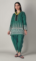 A serene green 2 piece unstitched khaddar outfit with stylized prints.