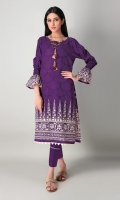 A pretty purple 2 piece unstitched khaddar outfit with stylized prints.