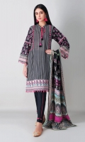 A bold black 3 piece unstitched light khaddar outfit with stylized prints.
