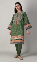 A beautiful green 2 piece unstitched khaddar outfit with stylized prints.
